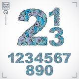 Insieme dei numeri decorati di vettore, rappresentazione dei numeri fiore-modellata blu Fotografia Stock Libera da Diritti
