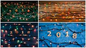 Insieme dei numeri di legno che formano il numero 2018 e il ligh di Natale Immagini Stock