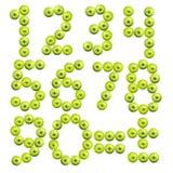 Insieme dei numeri fatti dalle mele Fotografia Stock Libera da Diritti