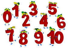 Insieme dei numeri rossi animati divertenti 3D Fotografie Stock
