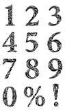 Insieme dei numeri stilizzati illustrazione di stock