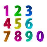 Insieme dei numeri variopinti 3d per la vostri pubblicità e web design Illustrazione di vettore Immagini Stock