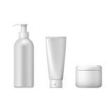 Insieme dei pacchetti cosmetici isolati su fondo bianco Immagine Stock Libera da Diritti