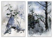 Insieme dei paesaggi della foresta Pittura dell'acquerello Fotografia Stock Libera da Diritti