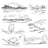 Insieme dei paesaggi su fondo bianco illustrazione disegnata a mano di vettore Immagini Stock