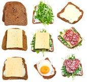 Insieme dei panini da pane nero tostato Fotografia Stock Libera da Diritti