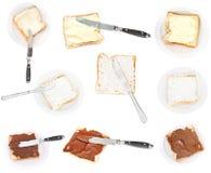 Insieme dei panini da pane tostato e degli speads isolati Fotografia Stock