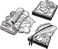 Insieme dei panini di scarabocchio illustrazione di stock