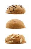 Insieme dei panini dolci isolati su fondo bianco Immagini Stock Libere da Diritti