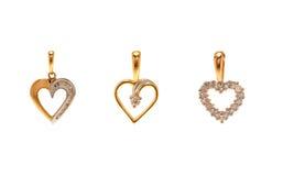 Insieme dei pendenti del diamante nella forma del cuore Immagine Stock