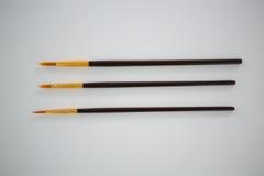 Insieme dei pennelli sistemati in una fila Fotografia Stock