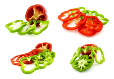 Insieme dei peperoni dolci tagliati Immagini Stock Libere da Diritti