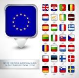 Insieme dei perni lucidi variopinti di rettangolo delle bandiere di UE Fotografie Stock Libere da Diritti
