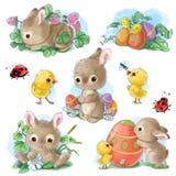 Insieme dei personaggi dei cartoni animati di Pasqua e degli elementi svegli di progettazione Coniglietto di pasqua, polli, uova  royalty illustrazione gratis