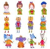 Insieme dei personaggi dei cartoni animati Fotografia Stock