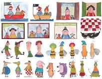 Insieme dei personaggi dei cartoni animati Immagini Stock