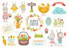 Insieme dei personaggi dei cartoni animati di Pasqua e degli elementi di progettazione illustrazione di stock
