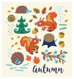 Insieme dei personaggi dei cartoni animati e degli elementi di autunno Immagine Stock