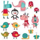 Insieme dei personaggi dei cartoni animati sopra fondo bianco Immagine Stock Libera da Diritti