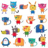 Insieme dei personaggi dei cartoni animati sopra fondo bianco Immagini Stock
