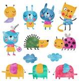 Insieme dei personaggi dei cartoni animati sopra fondo bianco Fotografie Stock Libere da Diritti