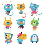 Insieme dei personaggi dei cartoni animati sopra fondo bianco Fotografia Stock