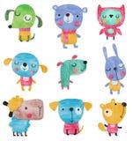 Insieme dei personaggi dei cartoni animati sopra fondo bianco Fotografia Stock Libera da Diritti