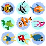 Insieme dei pesci del fumetto Immagini Stock