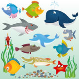 Insieme dei pesci del fumetto Fotografie Stock Libere da Diritti