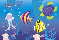 Insieme dei pesci del fumetto Fotografia Stock Libera da Diritti