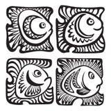 Insieme dei pesci nello stile decorativo Immagini Stock Libere da Diritti
