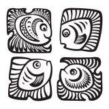 Insieme dei pesci nello stile decorativo Immagini Stock