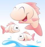Insieme dei pesci svegli del fumetto Fotografie Stock