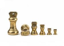 Insieme dei pesi imperiali d'ottone degli oggetti d'antiquariato Fotografia Stock