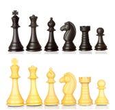 Insieme dei pezzi degli scacchi in bianco e nero Fotografia Stock Libera da Diritti