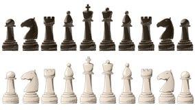 Insieme dei pezzi degli scacchi con lo schizzo di arti grafiche degli elementi illustrazione di stock