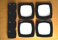 Insieme dei piatti in bianco e nero Fotografia Stock Libera da Diritti