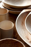 Insieme dei piatti di legno Immagini Stock