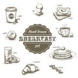 Insieme dei piatti e delle bevande disegnati a mano di mattina Immagine Stock Libera da Diritti