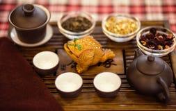 Insieme dei piatti per cerimonia di tè cinese sul vassoio Fotografie Stock Libere da Diritti