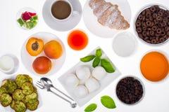 Insieme dei piatti sani della prima colazione Immagini Stock