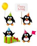 Insieme dei pinguini divertenti Fotografie Stock