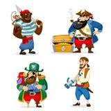 Insieme dei pirati del fumetto isolati su fondo bianco Illus di Vecto illustrazione vettoriale
