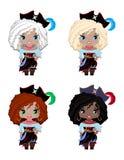 Insieme dei pirati delle bambine delle corse, dei capelli e dei colori degli occhi differenti royalty illustrazione gratis