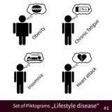 Insieme dei pittogrammi #1 di malattia di stile di vita Fotografia Stock