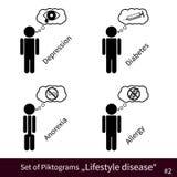 Insieme dei pittogrammi #2 di malattia di stile di vita Fotografia Stock
