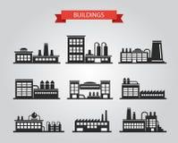 Insieme dei pittogrammi piani dei fabbricati industriali di progettazione Immagini Stock