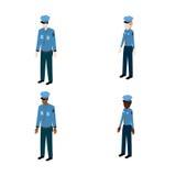 Insieme dei poliziotti isometrici Immagini Stock