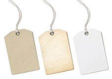 Insieme dei prezzi da pagare o di etichette della carta in bianco isolato Fotografia Stock