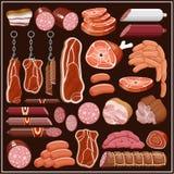 Insieme dei prodotti a base di carne. Fotografia Stock Libera da Diritti